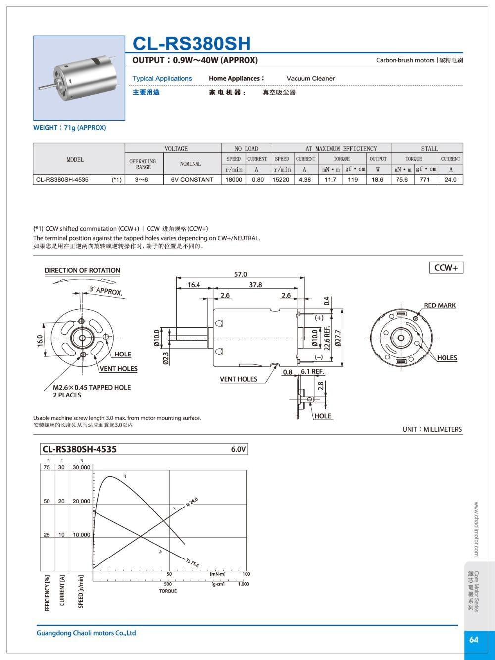 Wide Speed Regulating Range Spg Motor Cl Rs380sh For Intelligent Vem Wiring Diagram Housing Dfl 277378mm Material Secd O Shaft Diameter 23mm Carbon Steel Nickel Coating Way Of Commutation Brush