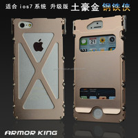 100% Original ARMOR KING stainless steel leather stand case for iphone 5 5s Stainless Steel + Leather