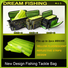 new design fishing bag with plastic box for fishing accessories