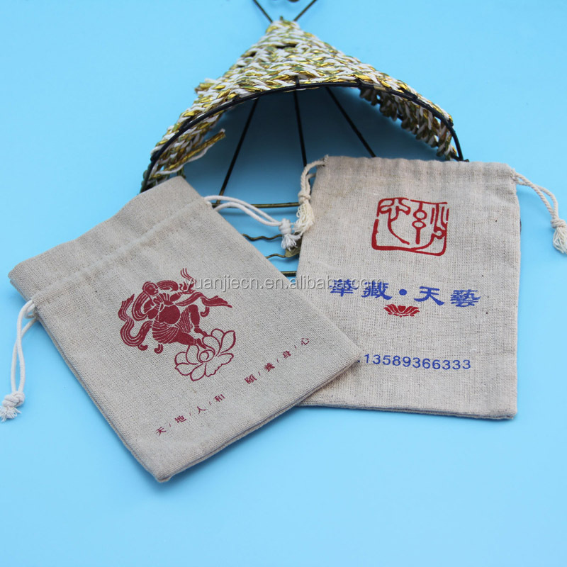 High quality ecofriendly cheap drawstring jute bag for Buddha