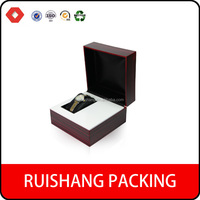 Elegant custom clamshell packaging box ,FAUX WOOD paper watch box with factory price
