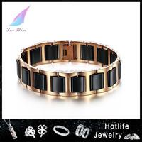 2014 New Arrival low MOQ business ceramic mens solid gold bracelets