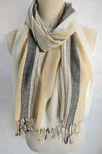 Pashmina fashion women style lady polyester color knit with silver yarn very soft hand feeling long scarf shawl with tassles
