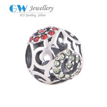 My Silver Shop Best Selling 925 Sterling Silver Round Ball Pave European Style Charm