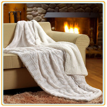 """Hot Selling Pure White color PV faux fur /Sherpa Plush Throw Blanket 60""""x70"""""""