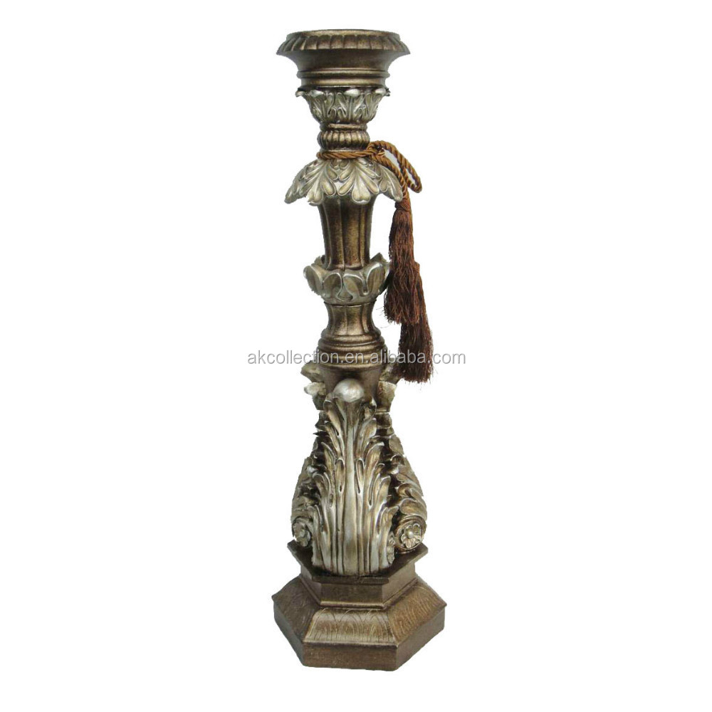 Polyresin floor candle holder with tassel for 3 inch for Floor candle holders