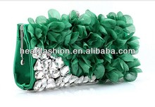 green crystal clutch bag for women