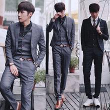 Hermosos trajes de los hombres( jacket+pants+vest) novio tuxedos traje