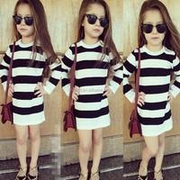 children long sleeve dress little girl strip dress