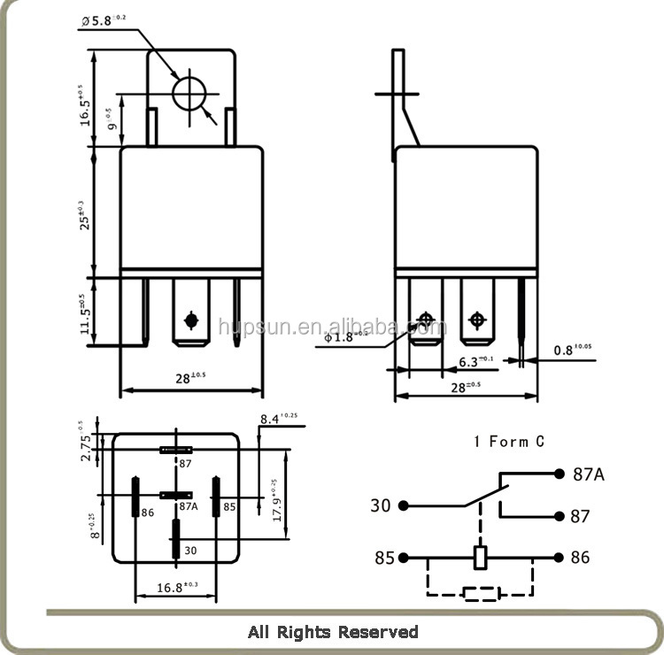 free sample universal type automobile relay auto 1z 5pin