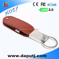 swivel leather usb flash drive with metal keyring leather usb stick for business gift 2GB usb shenzhen factory