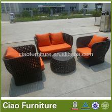 Unique design rattan wicker beach side sofa set