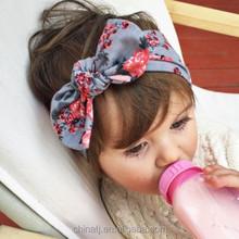 Top Baby Girls Printed Flower Bow Hairband Turban Knot Rabbit Headband Baby Headband Wholesale