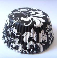 Low Price Damask black laser cutting paper wrapper Cupcake Liner cake Cup muffin baking cake box for wedding