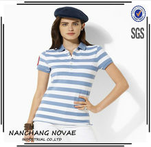 Women Polo Shirt 2015 Fashion T Shirt Top Tee Women Striped Clothing Manufacturing Companies In China