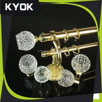 KYOK unique shower curtain hooks, adjustable telescoping rod 25mm, luxury curtain rod finial glass finial