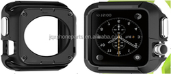 Rugged Armor Metal BLACK Case & Soft Silicone Strap For Apple Watch Metal Case