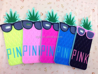 low price leather pink 3d cute fruit glasses pineapple soft silicone case for apple 5 with cartoon packing