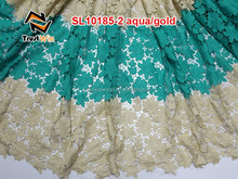 embroidery lace trim wholesale of SL10181 tblue/gold