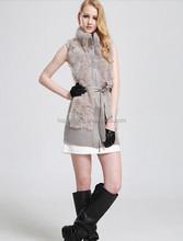 Free Shipping 2015 Winter Women's Genuine Rabbit Fur Long Vest Natural Fur Outwear Coats Real Fur Garment