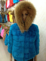 Dyed short style real rabbit fur coat genuine rabbit fur jacket