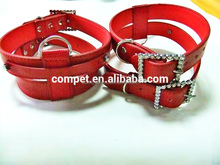 Snakeskin Finish Red PU Leather 1.8cm Width DIY Pet Harnesses for Dogs
