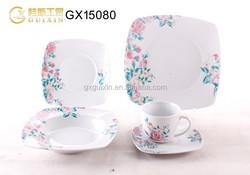 18-piece Square Ceramic Tableware for 6, Pink & Blue