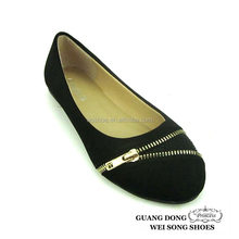 adjustable zipper black small drill latest manufacturer women flat casual shoes