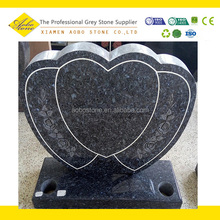 Blue pearl granite double heart shaped headstone tombstone