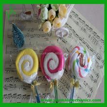 China wholesale wedding gift cake towel/lollipop shape towel cake