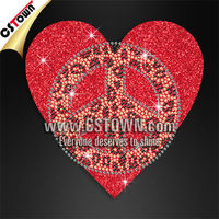 Whoesale peace love glitter hot fix rhinestuds transfer