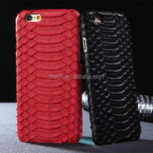 New Design pc hard case coated genuine Snake Skin Leather for iPhone6 leather case with Wholesale Price