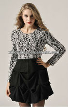 Long Sleeved Figured Black & White Fashion Dress for woman