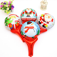 Hand Holding Stick Cartoon Christmas series Helium Ballon For Chirstmas Party Decoration Mylar Balloons
