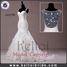 Wedding Dress Real Photos Long Train Organza Mermaid Wedding Dress