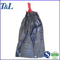 Easily taking and holding household black plastic garbage bag with drawstring