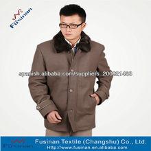 mens chaqueta larga de lana con cuello de piel