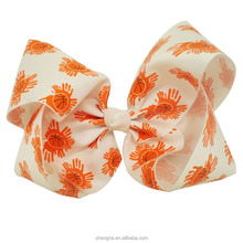 Wholesale Patterned Ribbon Hair Bow, 7.5 inch Basketball Printed Oversized Bows for Cheer