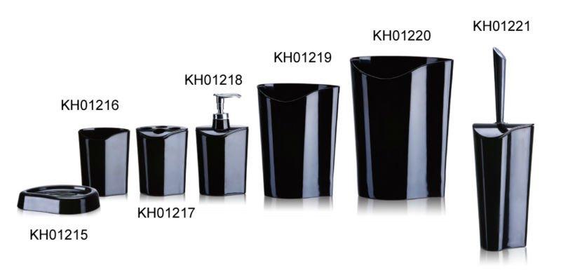 Acrílico preto wc acessórios do banheiro Set com escova de vaso sanitário