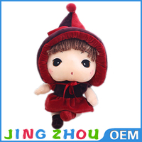 China good quality different types plush cartoon girl toy with hat
