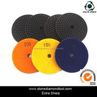 Resin-Cooper Bond Dry Wet Diamond Polishing Pads With Velcro Back 4 Inch