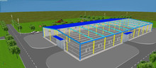 big and high steel building structure, pre-designed structure sports hall