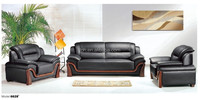 Victorian Artistic Black Leather Chesterfield Sofa Set(FOH-6628)