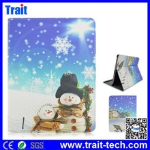 Good Quality with Christmas Tree and Santa's Vehicle Pattern Flip Leather Case for iPad Air 2,tablet cover for ipad air 2 leathe