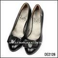 nudo de mariposa de alto talón zapatos de cuero negro para la señora 2013 nueva llegada