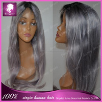 130% Middle parting full lace wigs silky straight Brazilian Hair #1b/grey ombre color human hair wigs dark roots full lace wigs