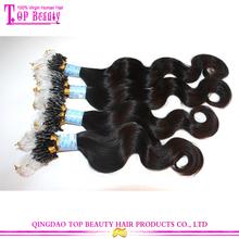Qingdao hot sale kinky curly micro loop hair extension 8a grade human hair micro loop hair extension