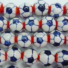 Hot Sale Fashion Colorful Football Porcelain Jewelry Spacer Beads