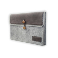 J.M.SHOW Notebook Sleeve Bag Envelope PU Leather Case Wool Felt Sleeve 14 inch for Pro 13 inch purple