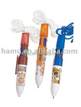 Neck hanging multi-color plastic ballpen with lanyard